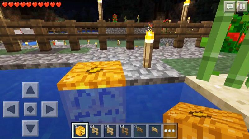 《マインクラフトPE》♯4かぼちゃランタンを水中設置!いい感じ♪12