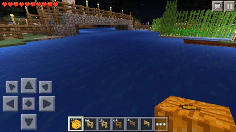 《マインクラフトPE》♯4かぼちゃランタンを水中設置!いい感じ♪04
